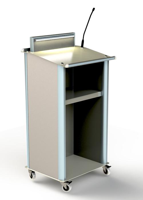 דוכן נואמים מסדרה POD-TR עם מיקרופון ,תאורת LED וגלגלים,מיתוג קבוע ומתחלף