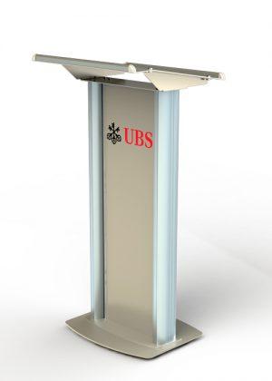 דוכן נואמים-פודיום מאלומיניום דגם POD-UXL-LB36 עם חזית ממותגת
