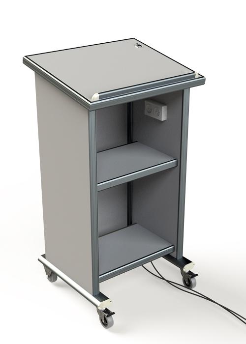 דוכן נואם-פודיום דגם POD-LB-36-H-MIC-W הכולל מיתוג , מקרופון וגלגלים-רוחב 60
