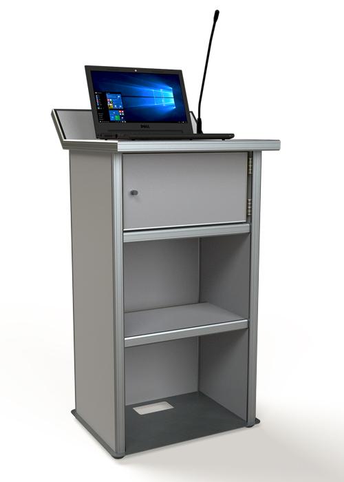עמדת נואם עם מתקון למחשב ומערכת הגברה