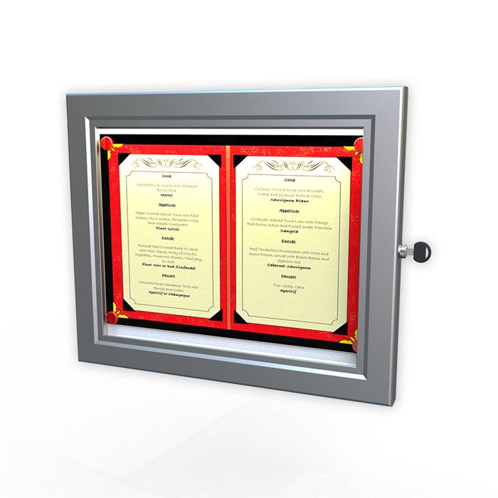 """לוח מודעות מואר LED עם דלת אלומיניום גודל חיצוני 55/40 ס""""מ שטח פנימי בגודל 45/30 ס""""מ, כולל מנעול ופס תאורת LED עליון."""