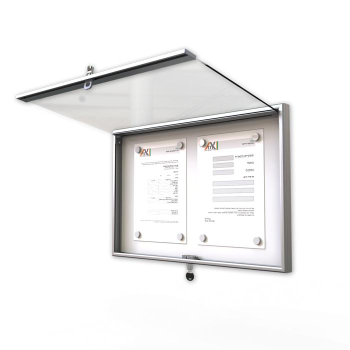 לוח מודעות עם דלת ננעלת לוועד בית NTB-light-60-40-open