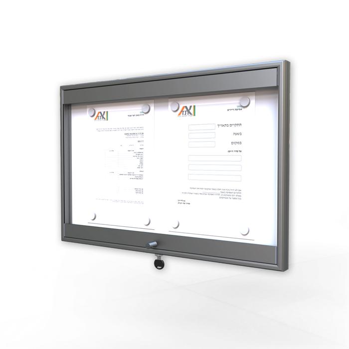 לוח מודעות עם דלת ננעלת לוועד בית NTB-light-60-40